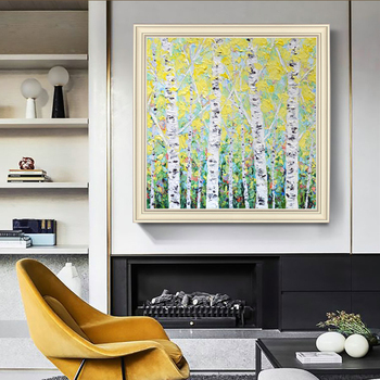 American Landscape hand-painted Oil Paintings Birch Decorative Painting Murals Modern Light Fantasy Handmade Luxury Large Size
