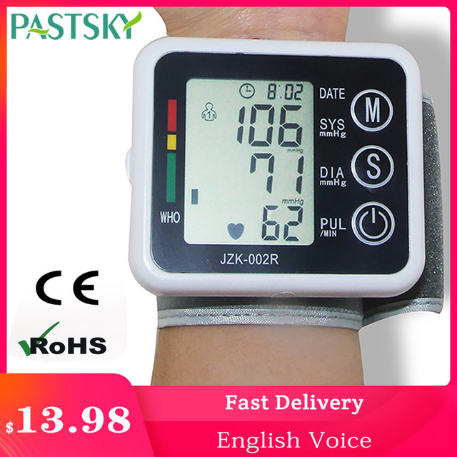 English Voice Digital Cuff Wrist Blood Pressure Monitor Sphygmomanometer Medical Equipment Health Care Measurement LCD Display