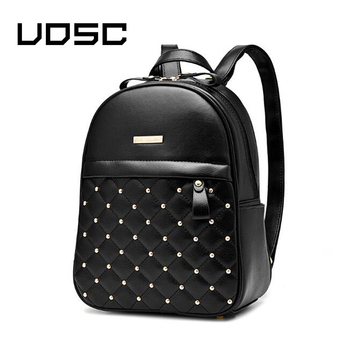 UOSC Women Small  Leather Backpack Rivet Bagpack Daily Cute Black Backpack for Teenager Girls Schoolbag Casual Travel Daypack 2018 women s leather backpack monster fashion ladies schoolbag for teenager girls female cute backpack preppy casual backpack