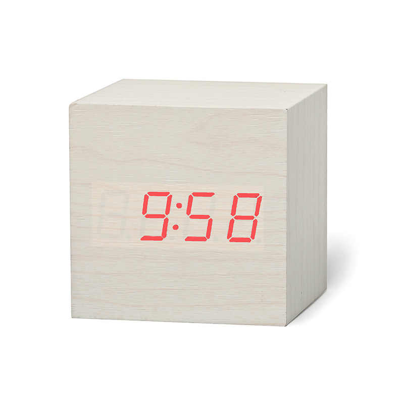 Vintage Wooden Alarm Clock Time Thermometer Snooze Wakeup Digital Desk Oranment