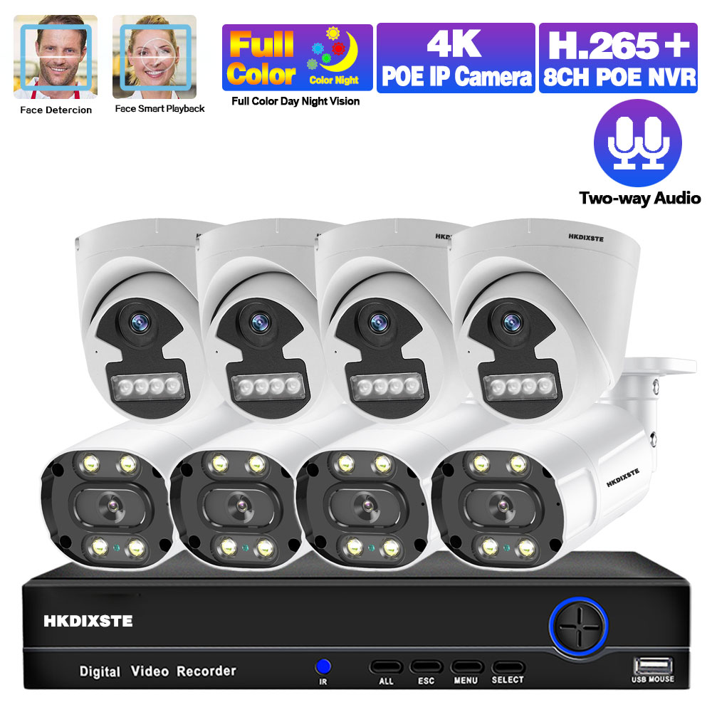 Face Recognition Cctv Camera Security System Kit 4k 8ch NVR Kit POE 5MP Outdoor Full Color Night Vision Video Surveillance Kit