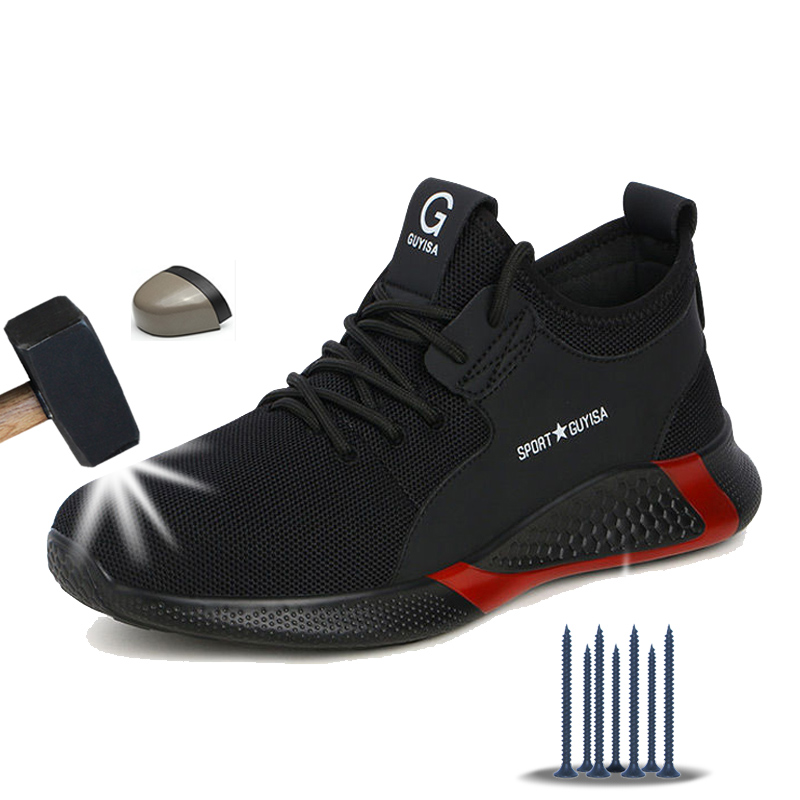 Manlegu Breathable Safety Shoes Men Summer Lightweight Work Shoes Steel Toe Puncture-Proof Work Sneakers Indestructible Shoes