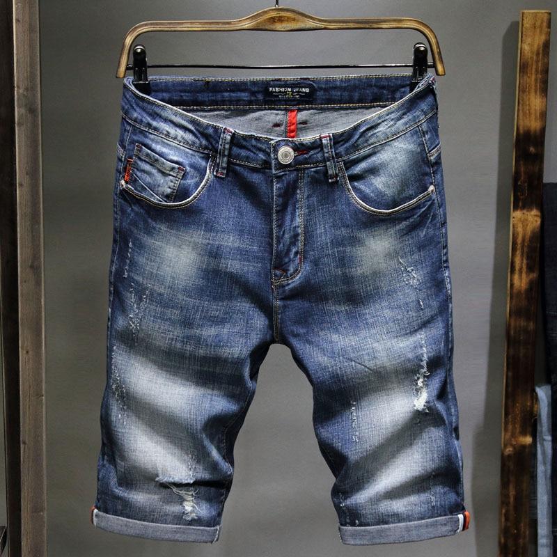 Trend Jeans Men's Elasticity Korean-style Retro Cowboy Breeches New Style Deft Hot Selling Prince Charming Short Cowboy Pants