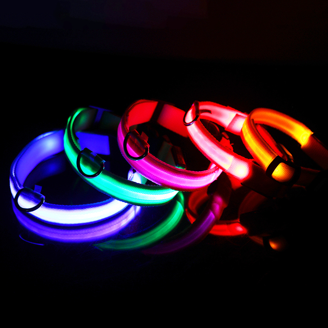 LED Glowing Pet Collar - USB Rechargeable 5 COLORS Puppy Glow  2