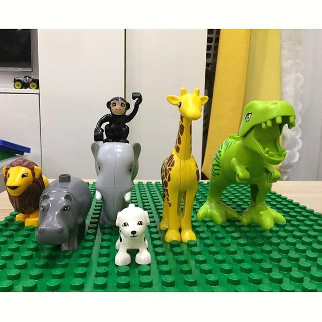 Duploed Set di Animali Building Blocks Figure Dinosauri Coccodrillo Elefante Zoo Serie FAI DA TE Blocchi Per Bambini Giocattoli Educativi Regali 4