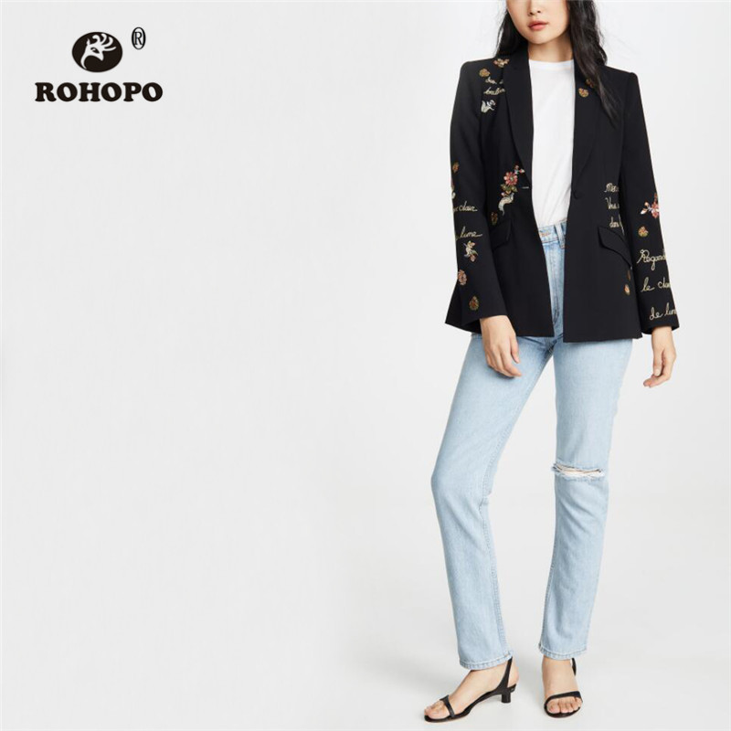 ROHOPO Embroidery Floral Letter Notched Collar Black Slim Blazer Ladies Elegant Back Slip Hem Vintage Outwear #9529