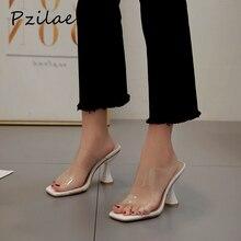 Pzilae אופנה PVC סנדלי נשים העקב בוהן מרובע נעלי ransparent קלטת עקב פתוח בוהן מרובע מזדמן קיץ כפכפים גודל 42