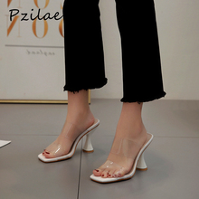 Pzilae fashion PVC sandals women square toe high heel shoes ransparent tape slingback square toe casual summer slippers size 42