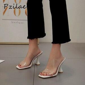 Image 1 - Pzilae moda PVC sandalet kadın kare ayak yüksek topuk ayakkabı şeffaf bant slingback kare ayak rahat yazlık terlik boyutu 42