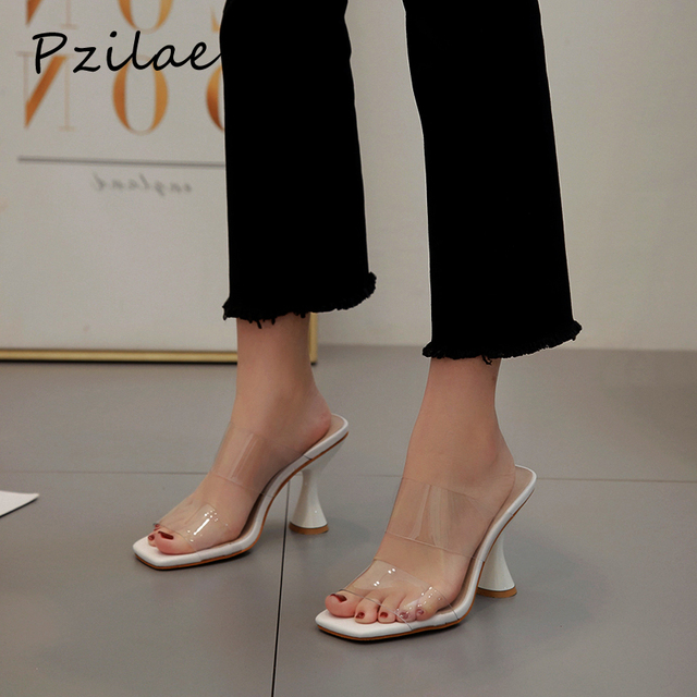 Pzilae moda PVC sandalet kadın kare ayak yüksek topuk ayakkabı şeffaf bant slingback kare ayak rahat yazlık terlik boyutu 42