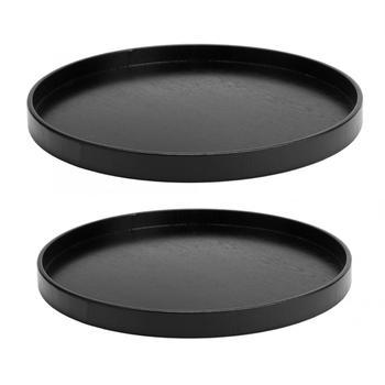 Деревянный круглый черный нескользящий поднос для чая, сервировочный столик для еды, поднос для китайского чая для дома, кухни, офиса