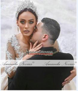 Image 5 - 2021 แชมเปญหรูลูกไม้ชุดแต่งงานเงารถไฟCathedralชุดแต่งงาน