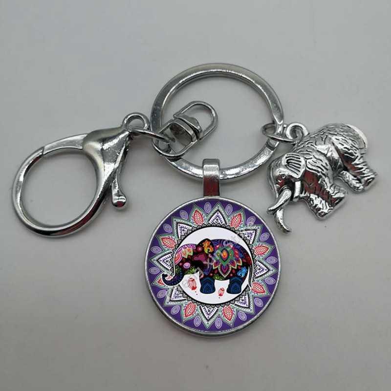 Venda quente redondo de vidro convexo redondo elefante e flor padrão de vidro artesanal chaveiro, carro chaveiro, boutique acessórios