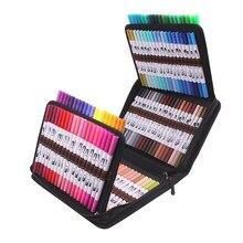 12-120 marcadores de ponta dupla escova canetas fineliners aquarela arte marcadores para desenho pintura arte suprimentos