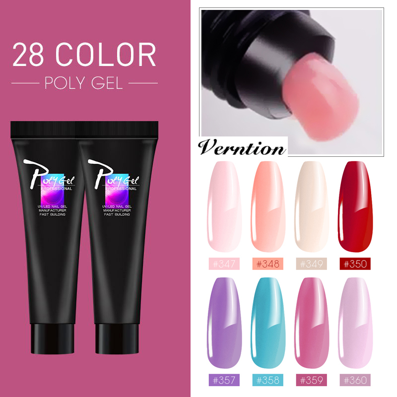 Verntion Thermal Polygel Polish Nails Extension Building Acrylic Poly Gel Color Extension Glue UV LED Quick Builder Gel Nail Art