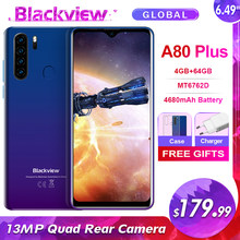 Blackview a80 plus 6.49 mt4 4gb + 64gb mt6762d octa núcleo android 10.0 smartphone 13mp quad câmera 4680mah 4g nfc telefone móvel