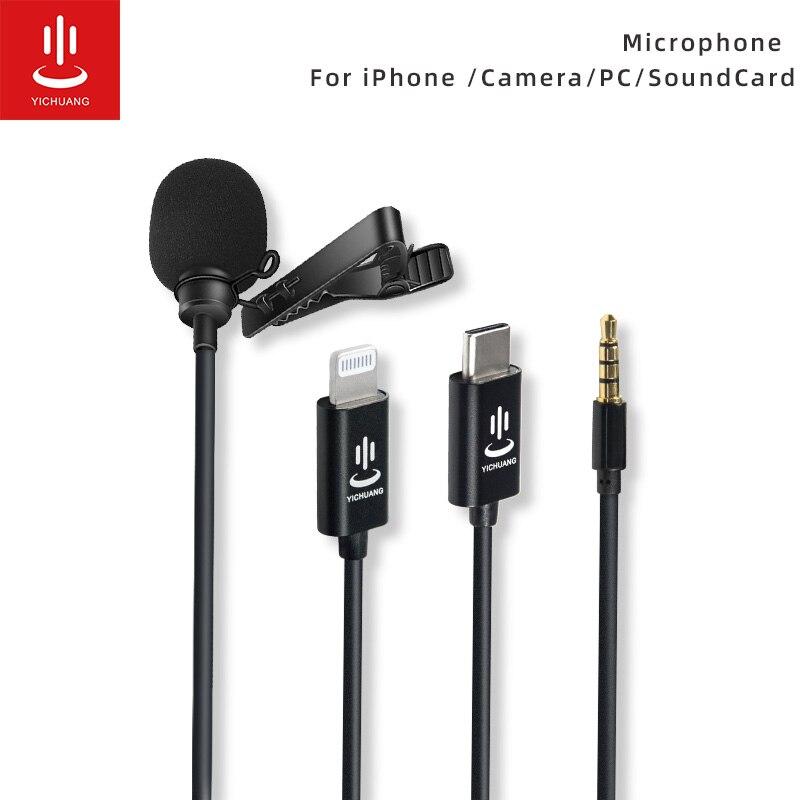 Микрофон YICHUANG Clip on Lavalier Mini Audio Lightning воротник конденсаторный отворот микрофон для записи Canon / iPhone DSLR камеры|Микрофоны|   | АлиЭкспресс