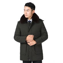 Winter Men Hooded Puffer Parkas Black Army Green Fur Collar Hood Detachable Puff Basic Coats Male Thicken Warm Fleece Outerwear