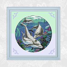 Classical Dolphin Paintings Chinese Cross Stitch Counted Printed on Canvas DMC 14CT 11CT Needlework Embroidery Sets