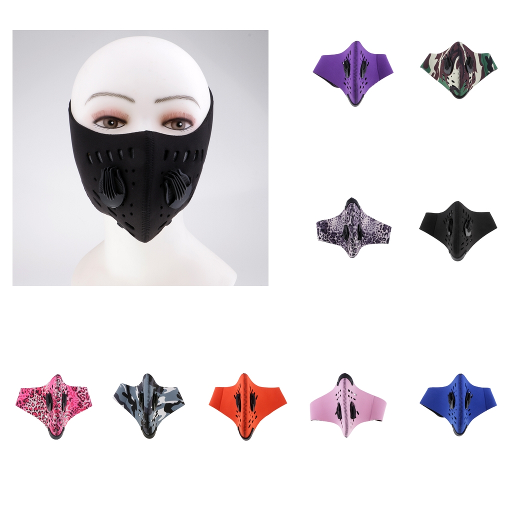 Workout Face Mask Cycling Dust Windproof Activated Carbon Mouth Muffle With Valve Filter Both For Women & Men