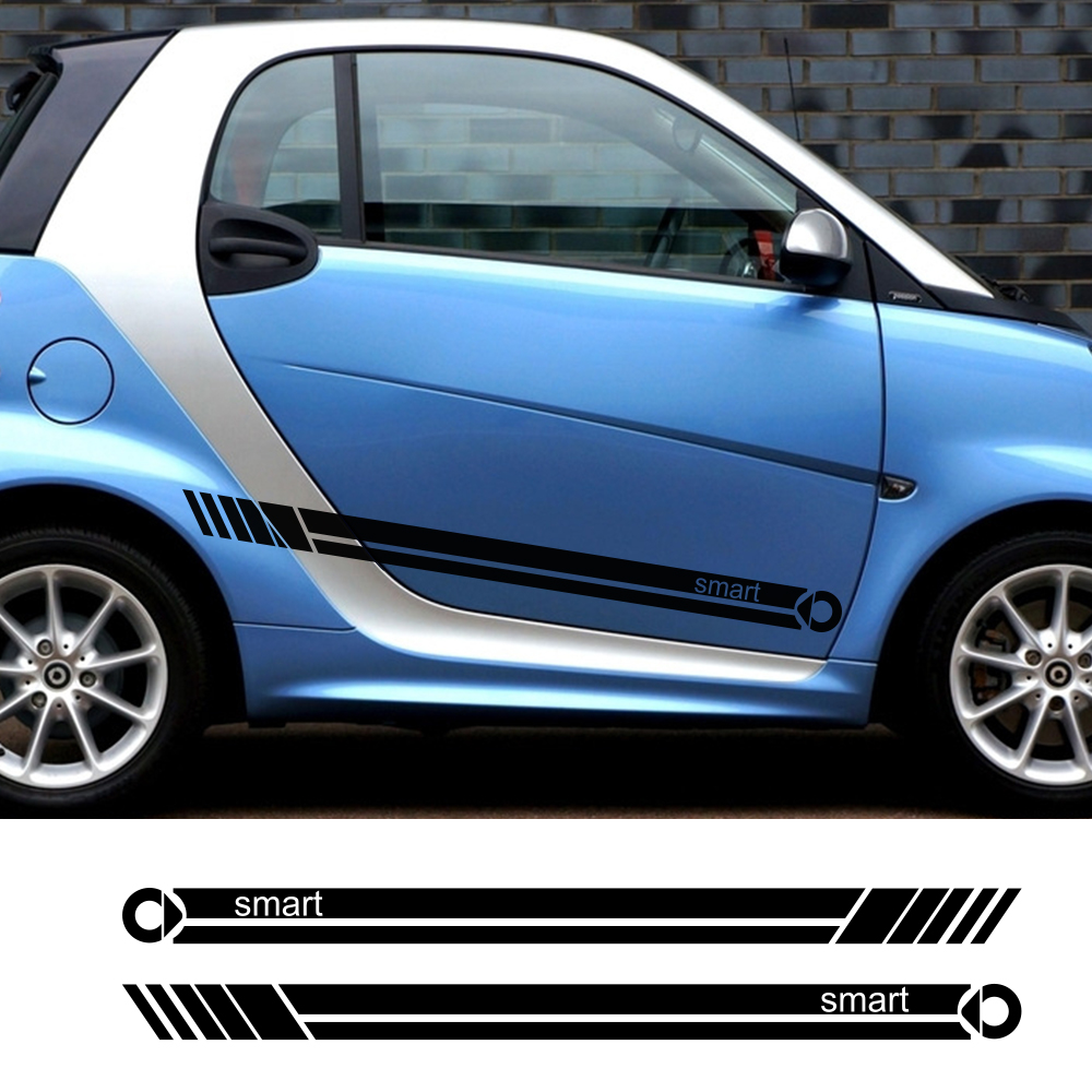 2pcs Car Door Side Stripe Vinyl Film Sticker Decal Decoration For Smart 451 453 fortwo forfour Car Accessories