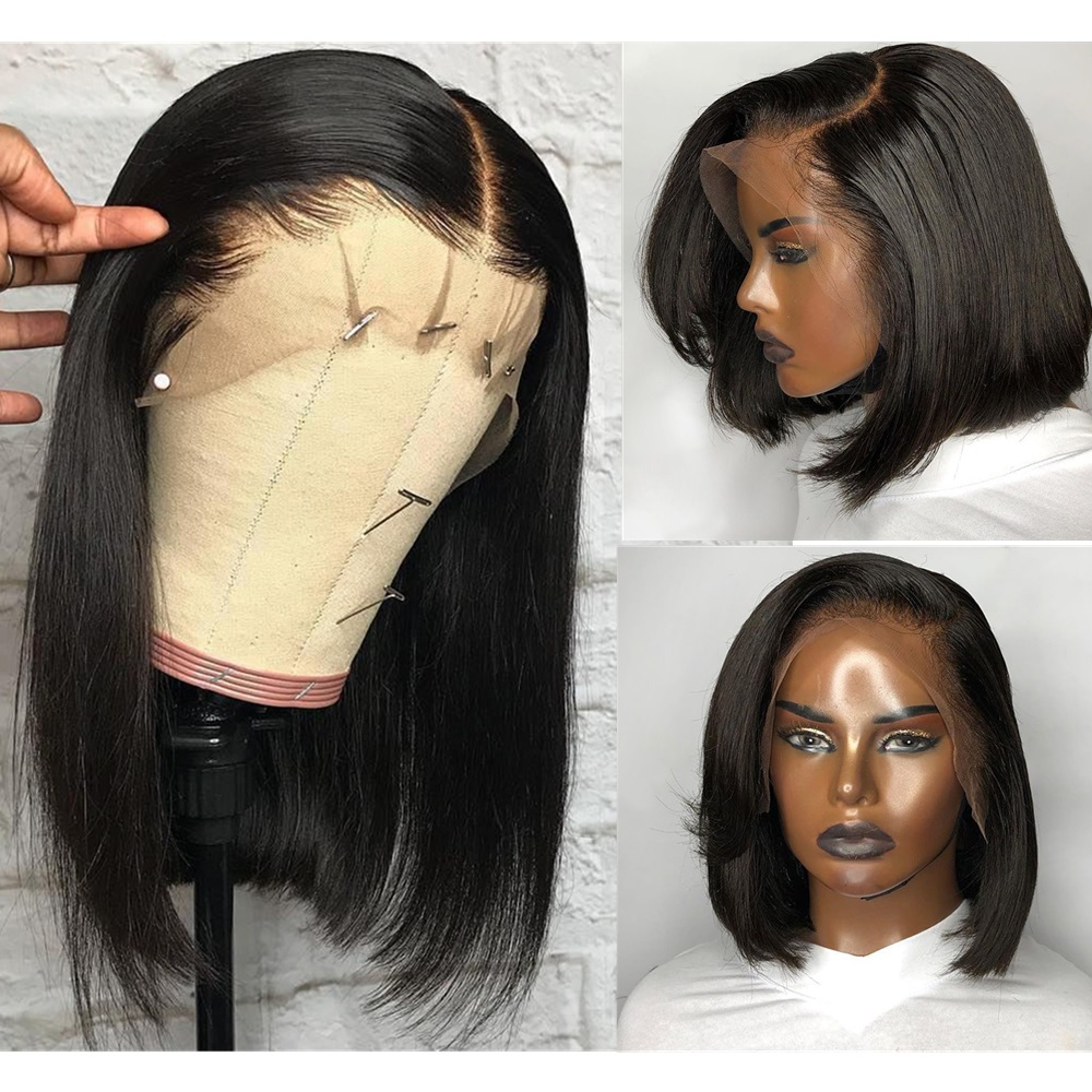 Bob Lace Front Wigs Brazilian Straight Human Hair Wig For Black Women Pre Plucked Natural Hairline With Baby Hair Lace Wig
