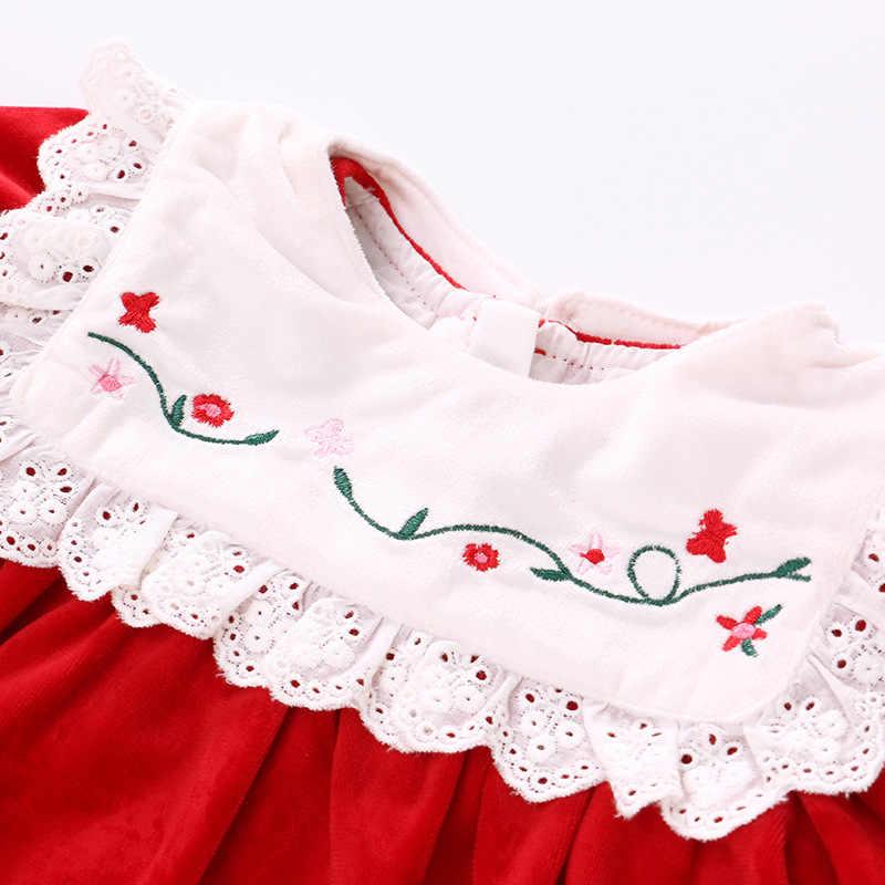 2020 Baru Beludru Bordir Merah Putri Gaun Bayi Gadis Pakaian Bayi 0-12 Bulan Gaun dengan Renda Dekorasi Musim Gugur 2020 Gaun