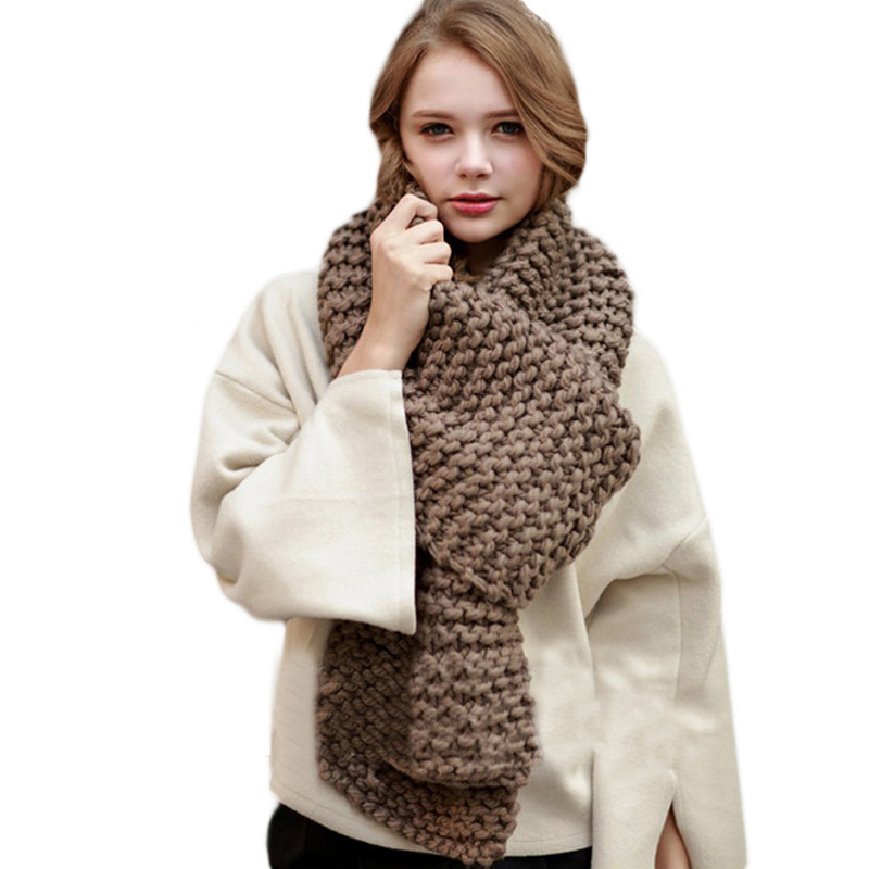 Winter women's scarf imitation cashmere thick pure color handmade knitted wool scarf