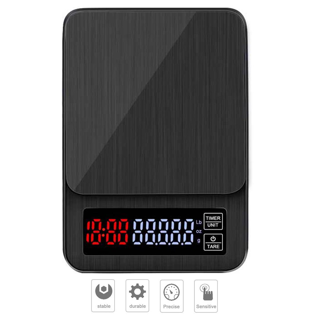 3/5/10kg 1g דיגיטלי מזון מטבח בקנה מידה תכשיטי דיוק אלקטרוני בקנה מידה איזון נירוסטה פלטפורמה עם LCD תצוגה