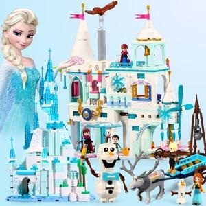 2020 Princess Snow Queen Ice Castle Snow Figures Building Blocks Toy Compatible Friends City Bricks Toys For Children(China)