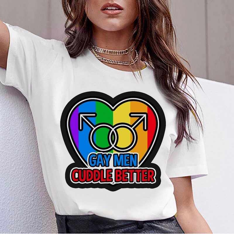 Áo Thun Nữ New Đồng Tính Niềm Tự Hào Áo Thun Nữ Tình Yêu Đồng Tính Nữ Rainbow Love Là Áo Thun Mùa Hè Harajuku Top tee