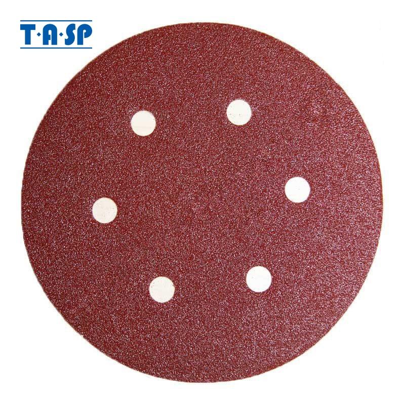 """TASP 25pcs 150mm 6 """"Papel de lija húmedo y seco Gancho y bucle Almohadilla de lijado abrasiva Disco de papel para granos de carpintería 60 80 120 180 240"""
