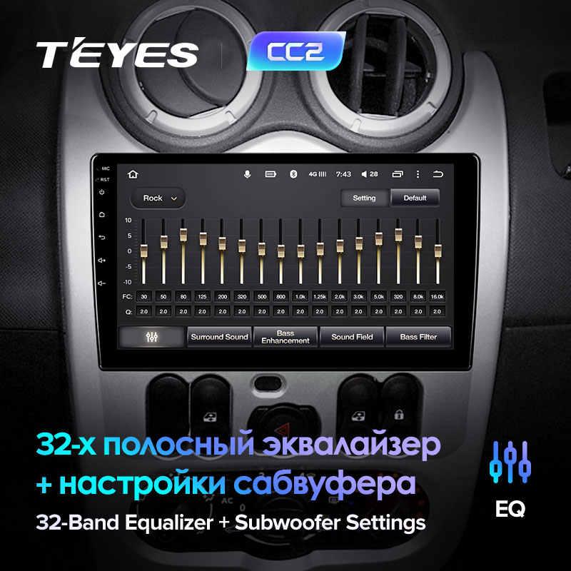 TEYES CC2 için Renault Logan 1 Sandero 2009 - 2015 Lada Largus için Lergus 2012 - 2020 Dacia Duster 2010 - 2017 araba radyo multimedya Video oynatıcı navigasyon GPS Android 8.1 hayır 2din 2 din dvd