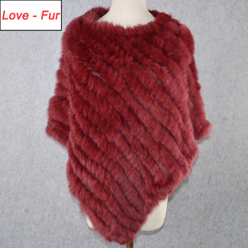 2020 Hot Sale Winter Ladies' Genuine 100% Real Knitted Rabbit Fur Poncho Women Fur Pashmina Wrap Female Party Pullover Fur Scarf