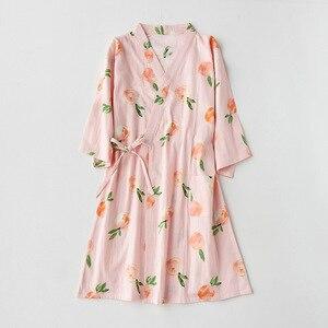 Lato jesień kobiety styl kimono koszula nocna rękaw trzy czwarte bawełna oddychająca kobieta odzież domowa japońskie ubrania