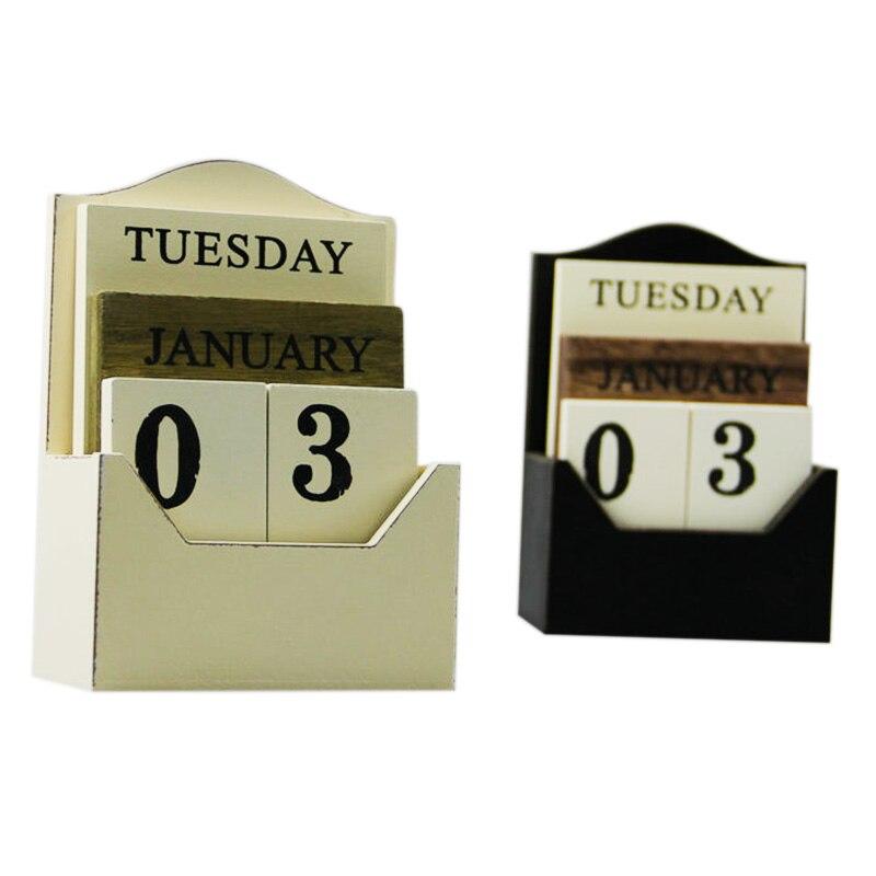 Fashion-Black / White Wood Desk Calendar Retro Vintage Wood Block Perpetual Calendar Wooden Environmental Office Home Desk Decor