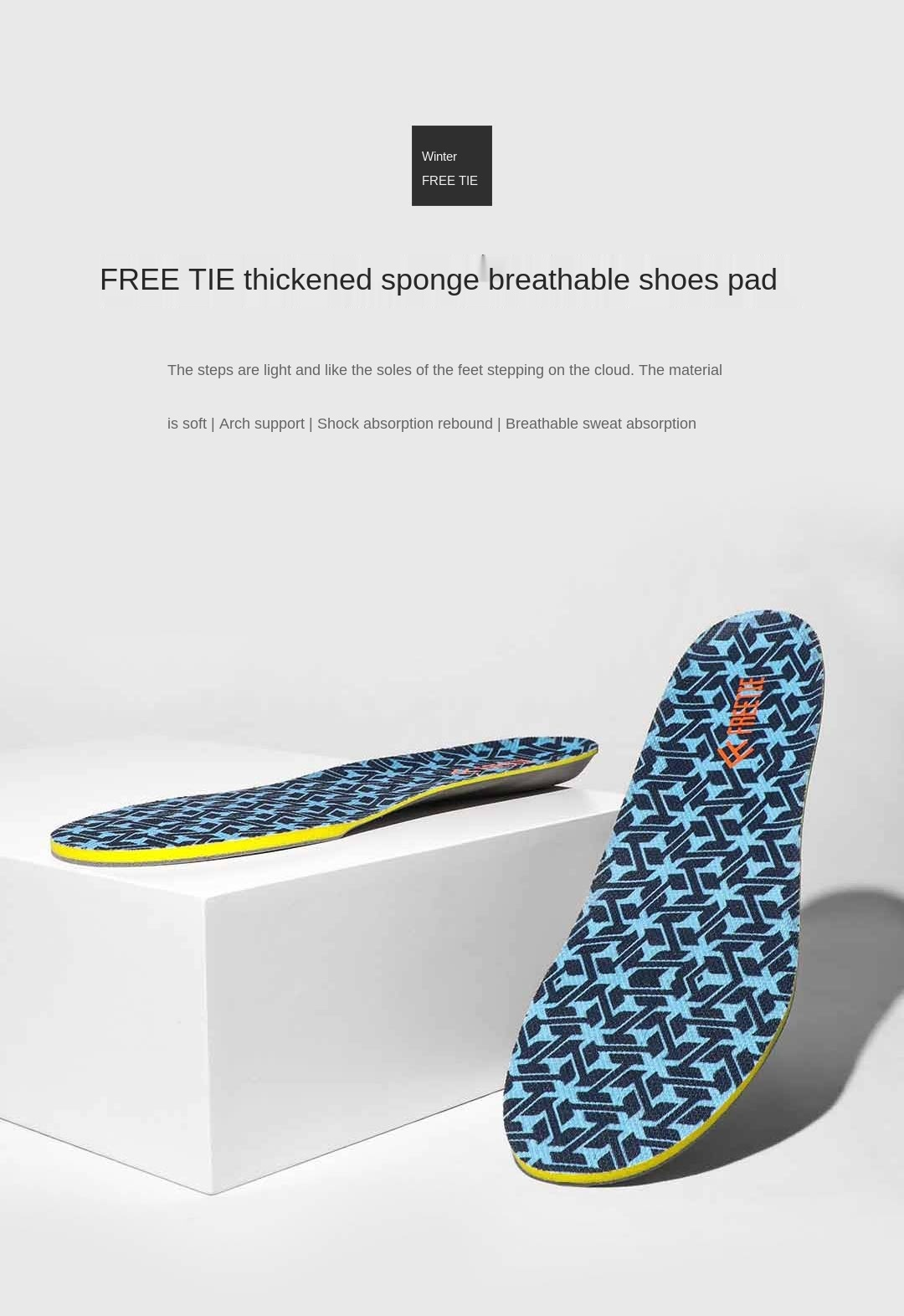 Xiaomi Youping Freetie Memory Cotton Soft Cushioning Insole Slow Rebound Comfortable Fit Breathable Dry Sports Insoles Shoe Pad