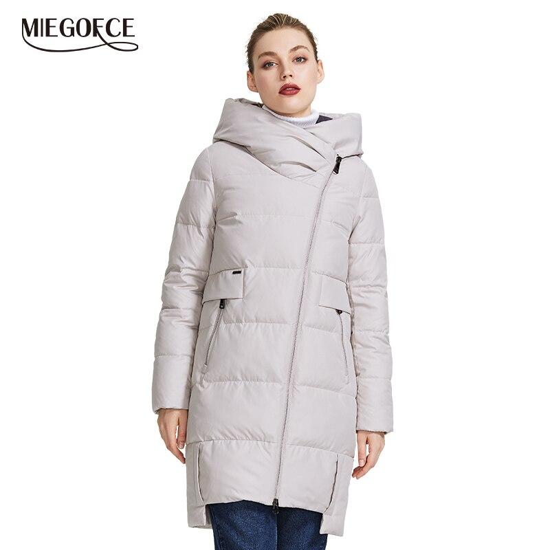 MIEGOFCE 2019 Collection hiver veste chaude pour femme en véritable Parka Bio femmes coupe-vent col montant avec capuche manteau