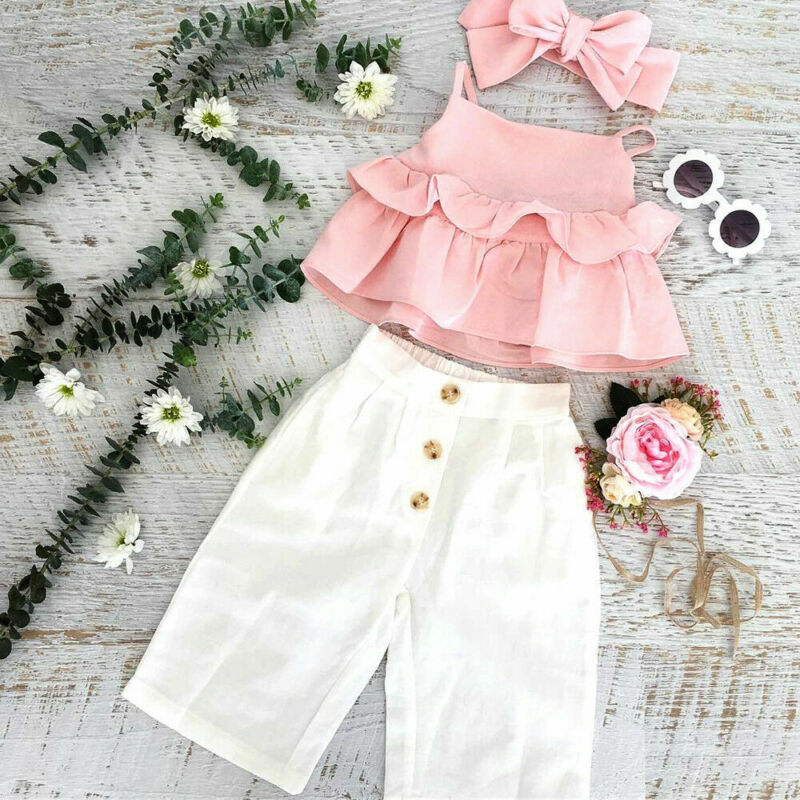 Pudcoco 2020 Summer  3PCS Toddler Kid Baby Girl Ruffle Sling Tops Long Pants Outfit Clothes
