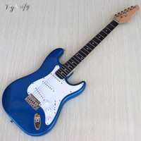 new made metallic blue ST electric guitar 39 inch basswood body with Canada maple neck 6 string electric guitarra