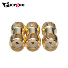 100pcs SMA Female to Female Straight Coaxial Adapter Copper Gold Plated Dual SMA Connector for Radio SMA Antenna RF Adapter