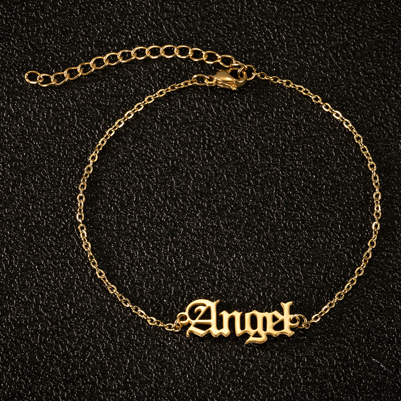Gold Chain Angel Ankle Bracelet Old English Letter Charm Anklets for Women Summer Beach Jewelry Babygirl Anklets Best Friend Gif