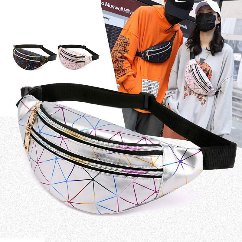 Holographic Fanny Pack Women's Bum Bag Waist Female Bags Kidney Pouch Line Belt Purses Phone Ladies Chest Laser Bag Girls