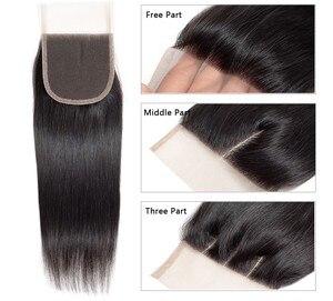 Image 3 - Kızılcık saç brezilyalı düz saç kapatma ile 3 demetleri Remy brezilyalı insan saç demetleri ile kapatma orta kahverengi dantel