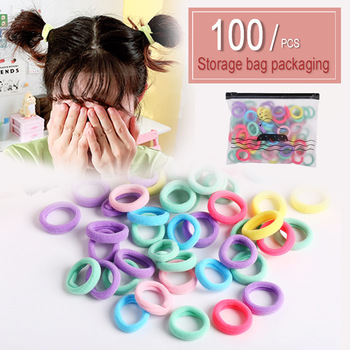 100Pcs/bag Kids Elastic Hair Bands Fashion Colorful Hair Rope Accessories Ponytail Holder Scrunchy Headbands Rubber Gum for Girl 100pcs bag colorful nylon hair gum ties girls ponytail holder rubber bands headband elastic hair bands fashion hair accessories