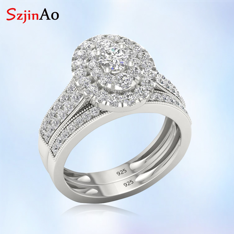 szjinao Diamond Ring For Women White Gold Couple Rings Set Wedding Engagement Gemstones Real 925 Sterling Silver Fine Jewelry