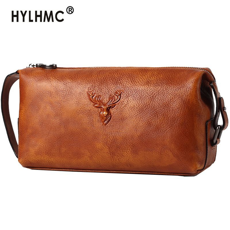 Handbag men's clutch bag large-capacity leather men clutch bag soft leather business casual fashion new tide mobile phone bag
