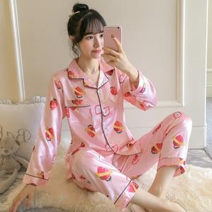 Image 5 - BabYoung משי פיג מה לנשים של חדש קיץ ארוך שרוול צווארון סידור יומי בית ללבוש שני חלקים חליפת PJS