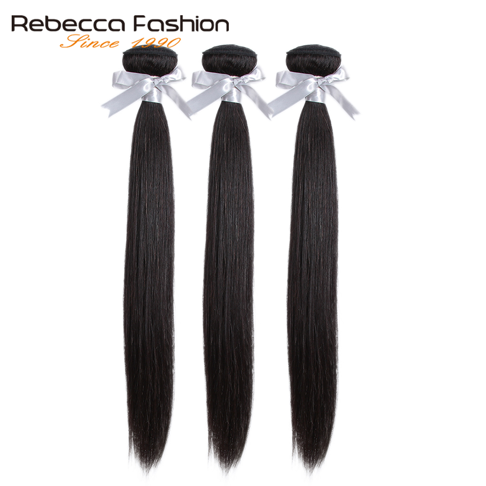 Rebecca 360 Lace Frontal With Bundle Brazilian Straight Hair 3 Bundles With 360 Frontal Closure Remy Human Hair Extensions