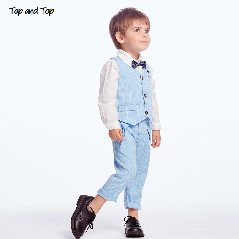 Top and Top Spring&Autumn Baby Boy Gentleman Suit White Shirt with Bow Tie+Striped Vest+Trousers 3Pcs Formal Kids Clothes Set 4